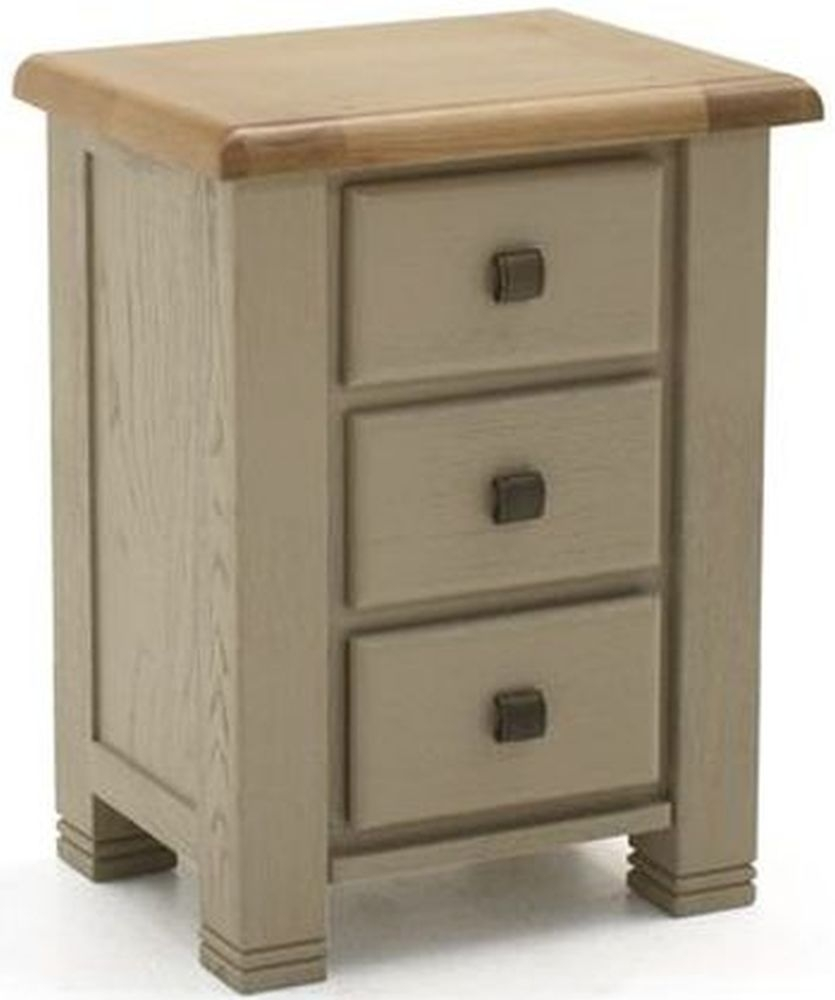 Vida Living Logan Bedside Table - Taupe and Oak Painted