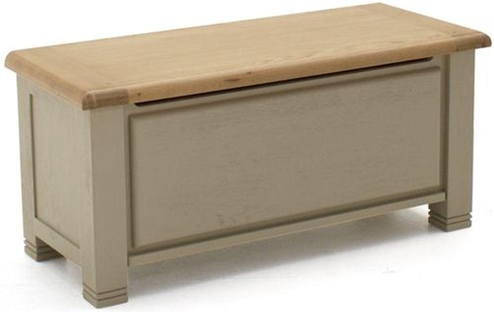 Vida Living Logan Blanket Box - Taupe and Oak Painted