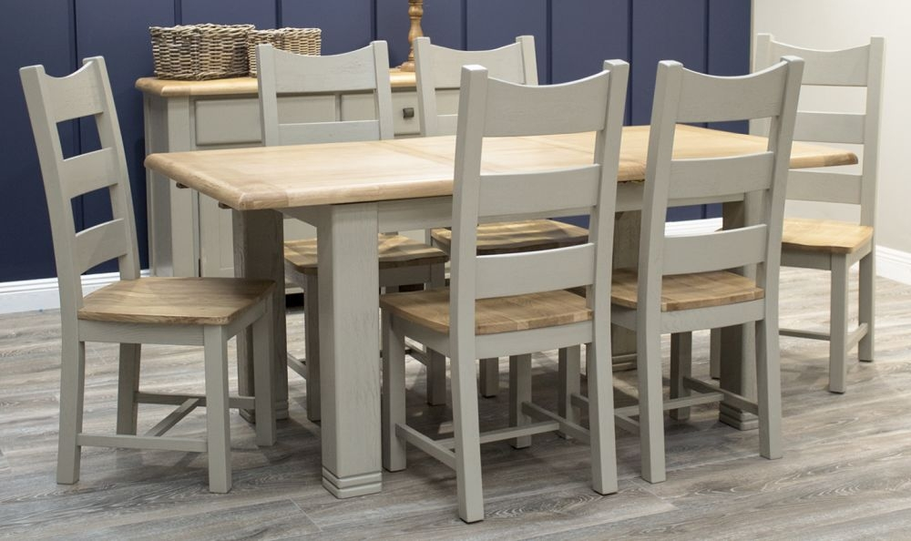 Vida Living Logan Large Extending Dining Table - Taupe and Oak Painted
