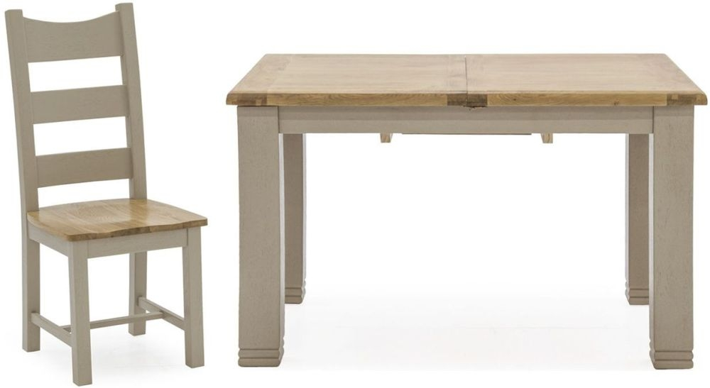Vida Living Logan Extending Dining Table and 6 Solid Seat Chairs - Taupe and Oak Painted