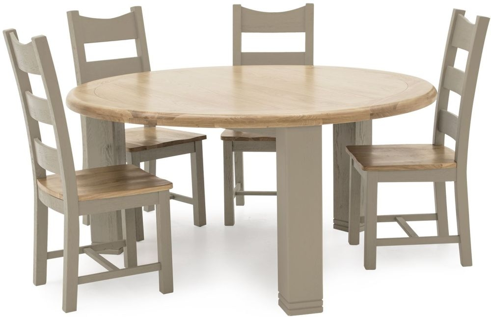 Vida Living Logan Round Dining Table and 4 Solid Seat Chairs - Taupe and Oak Painted