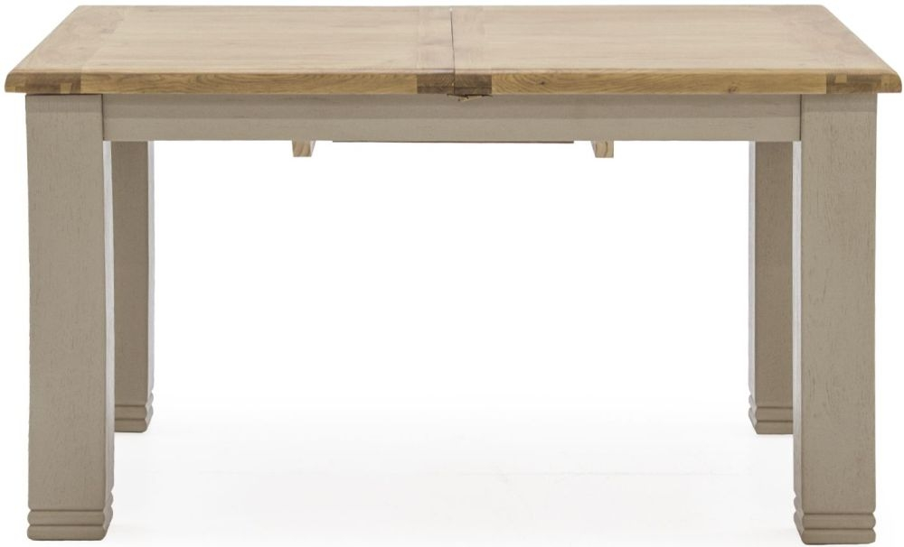 Vida Living Logan Extending Dining Table - Taupe and Oak Painted