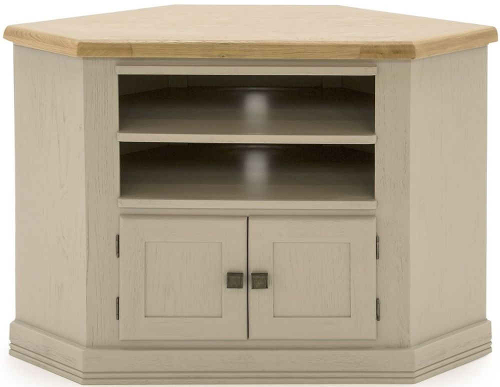 Vida Living Logan Corner TV Unit - Taupe and Oak Painted
