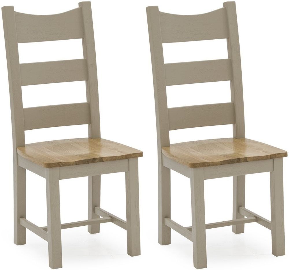 Vida Living Logan Solid Seat Dining Chair (Pair) - Taupe and Oak Painted