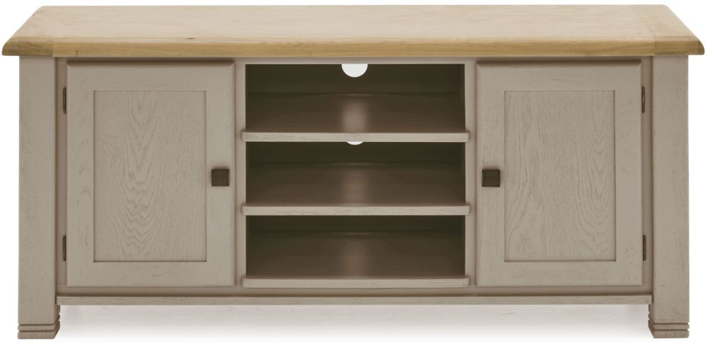 Vida Living Logan TV Unit - Taupe and Oak Painted