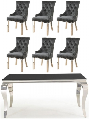 Vida Living Louis 160cm Dining Table with 6 Black Velvet Knockerback Chairs - Black Glass and Stainless Steel Chrome