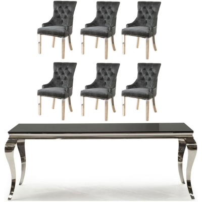 Vida Living Louis 180cm Large Dining Table with 6 Black Velvet Knockerback Chairs - Black Glass and Stainless Steel Chrome
