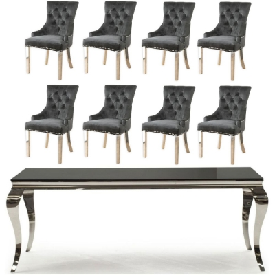 Vida Living Louis 180cm Large Dining Table with 8 Black Velvet Knockerback Chairs - Black Glass and Stainless Steel Chrome