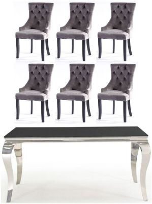 Buy Vida Living Louis 160cm Black Glass Dining Table with 4 Grey Knockerback Chairs and Get 2 Extra Chairs Worth £298 For FREE