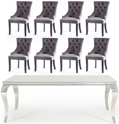 Vida Living Louis 200cm White Glass Dining Table and 8 Grey Knockerback Chairs