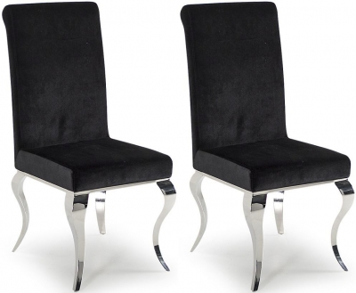 Vida Living Louis Dining Chair (Pair) - Black Fabric and Chrome
