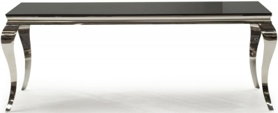 Vida Living Louis Black Glass Top Dining Table - 200cm