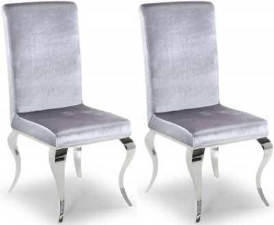 Vida Living Louis Dining Chair (Pair) - Silver Fabric and Chrome