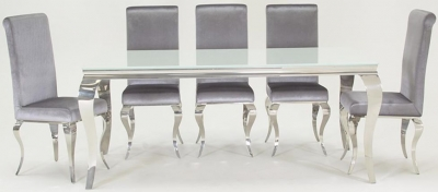 Vida Living Louis Glass Large Dining Table and Chairs - Chrome and Silver Fabric