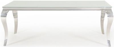 Vida Living Louis White Glass Top Dining Table - 200cm