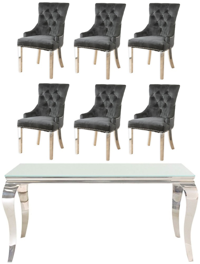 Vida Living Louis 160cm Dining Table with 6 Black Velvet Knockerback Chairs - Glass and Stainless Steel Chrome