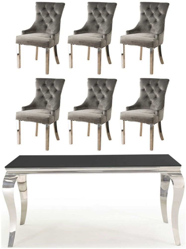 Vida Living Louis 160cm Dining Table with 6 Grey Velvet Knockerback Chairs - Black Glass and Stainless Steel Chrome