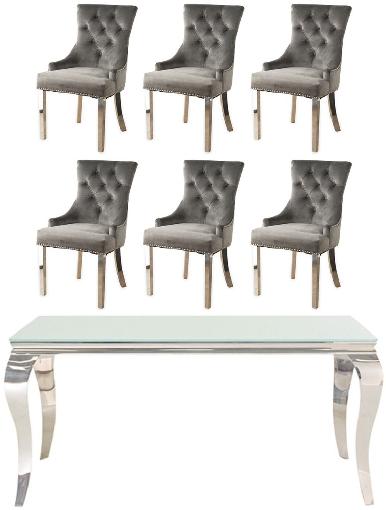 Vida Living Louis 160cm Dining Table with 6 Grey Velvet Knockerback Chairs - Glass and Stainless Steel Chrome