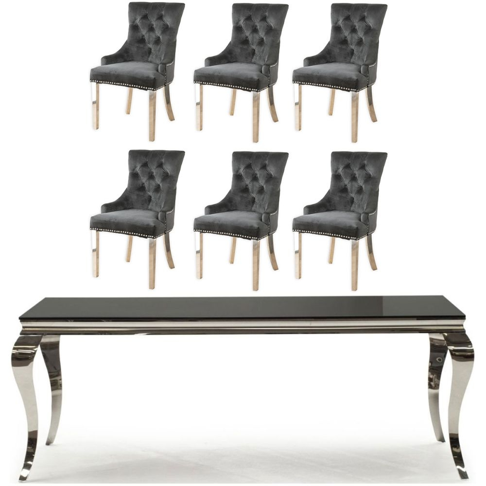 Buy Vida Living Louis Black Glass and Chrome 200cm Dining Table with 4 Black Knockerback Chrome Leg Chairs and Get 2 Extra Chairs Worth £358 For FREE