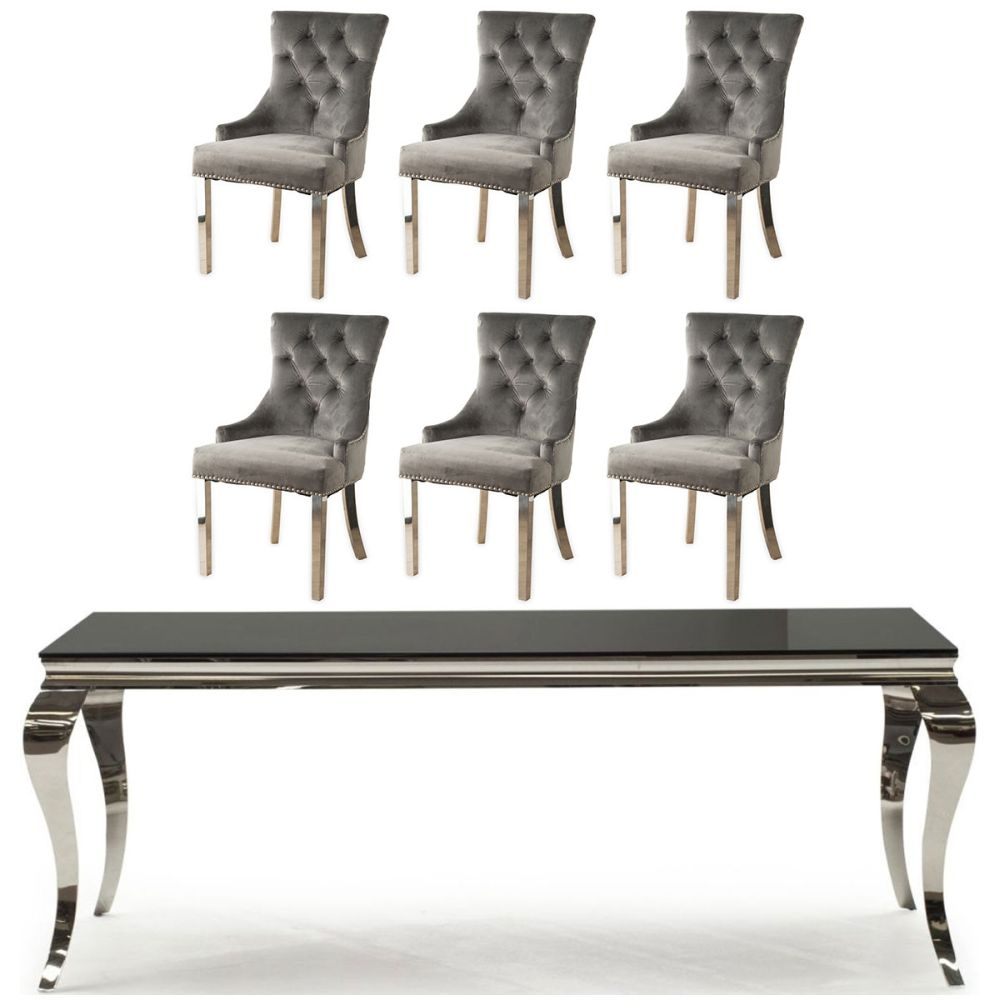 Buy Vida Living Louis Black Glass and Chrome 200cm Dining Table with 4 Grey Knockerback Chrome Leg Chairs and Get 2 Extra Chairs Worth £398 For FREE
