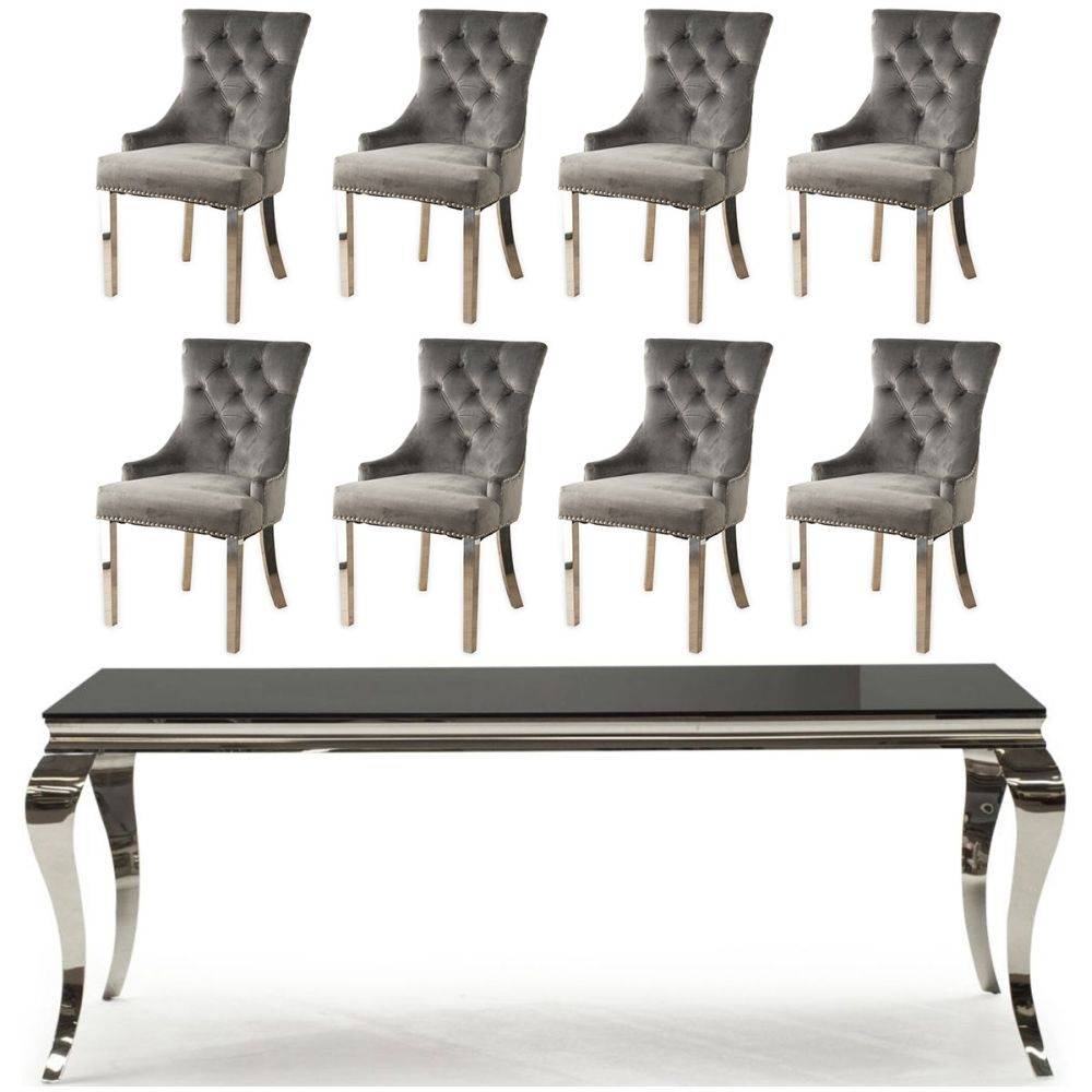 Vida Living Louis 180cm Large Dining Table with 8 Grey Velvet Knockerback Chairs - Black Glass and Stainless Steel Chrome