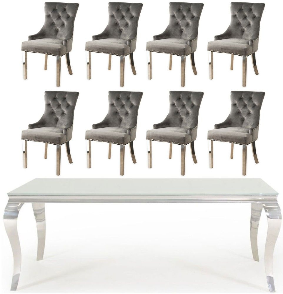Vida Living Louis 180cm Large Dining Table with 8 Grey Velvet Knockerback Chairs - Glass and Stainless Steel Chrome