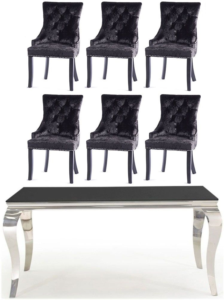 Buy Vida Living Louis Black Glass and Chrome 160cm Dining Table with 4 Black Knockerback Chairs and Get 2 Extra Chairs Worth £278 For FREE