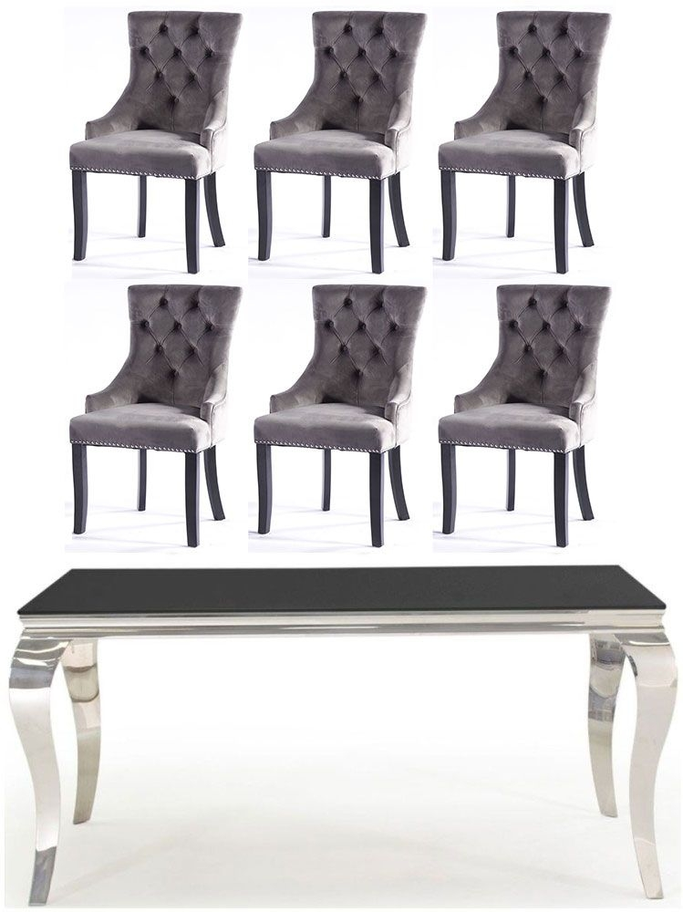 Vida Living Louis 160cm Black Glass Dining Table and 6 Grey Knockerback Chairs