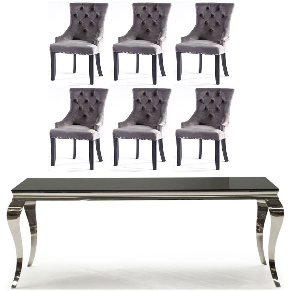 Vida Living Louis 200cm Black Glass Dining Table and 6 Grey Knockerback Chairs