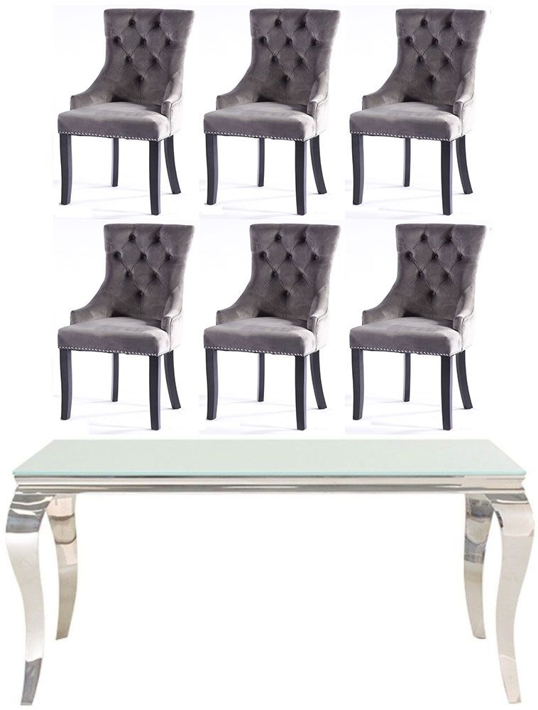 Vida Living Louis 160cm White Glass Dining Table and 6 Grey Knockerback Chairs