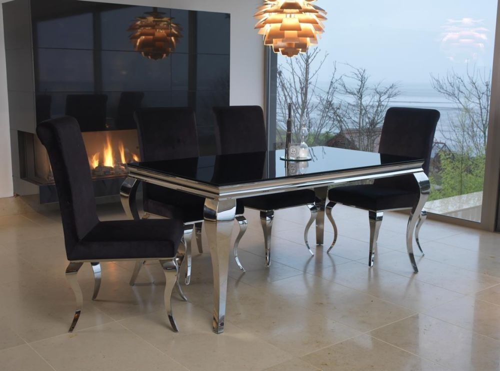 Vida Living Louis Black Glass Top Dining Set - 160cm with 4 Chairs