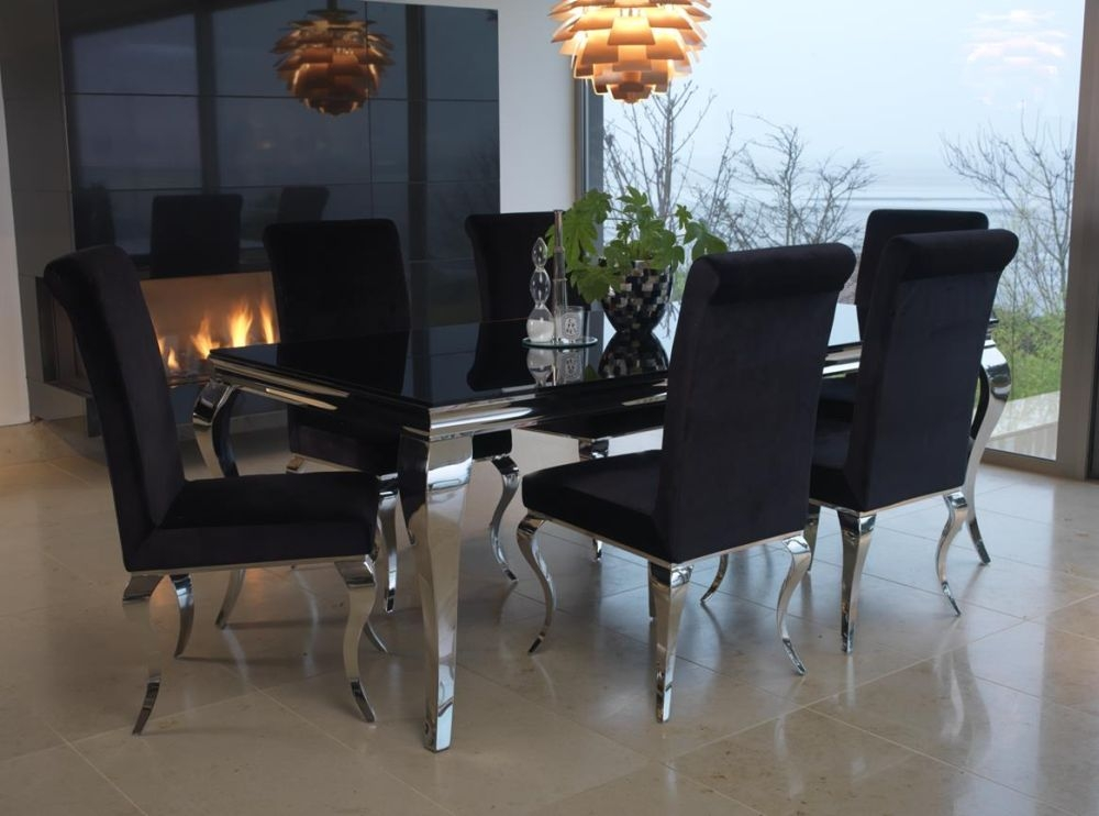 Nice Vida Living Louis Black Glass Top Dining Set   200cm Rectangular Fixed Top  With 6 Chairs