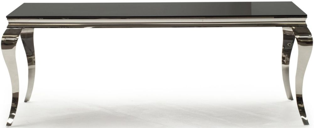 Vida Living Louis Large Dining Table - Black Glass and Chrome