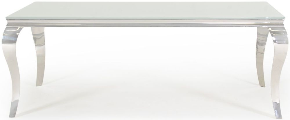 Vida Living Louis Large Dining Table - Glass and Chrome