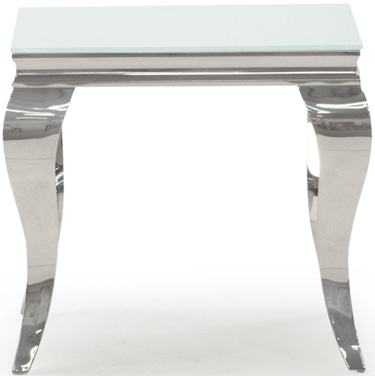 Vida Living Louis White Glass End Table