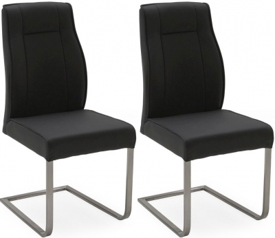 Vida Living Luciana Charcoal Leather Dining Chair (Pair)