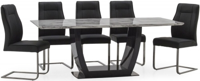 Vida Living Luciana 200cm Grey Marble Dining Table and 8 Charcoal Leather Chairs