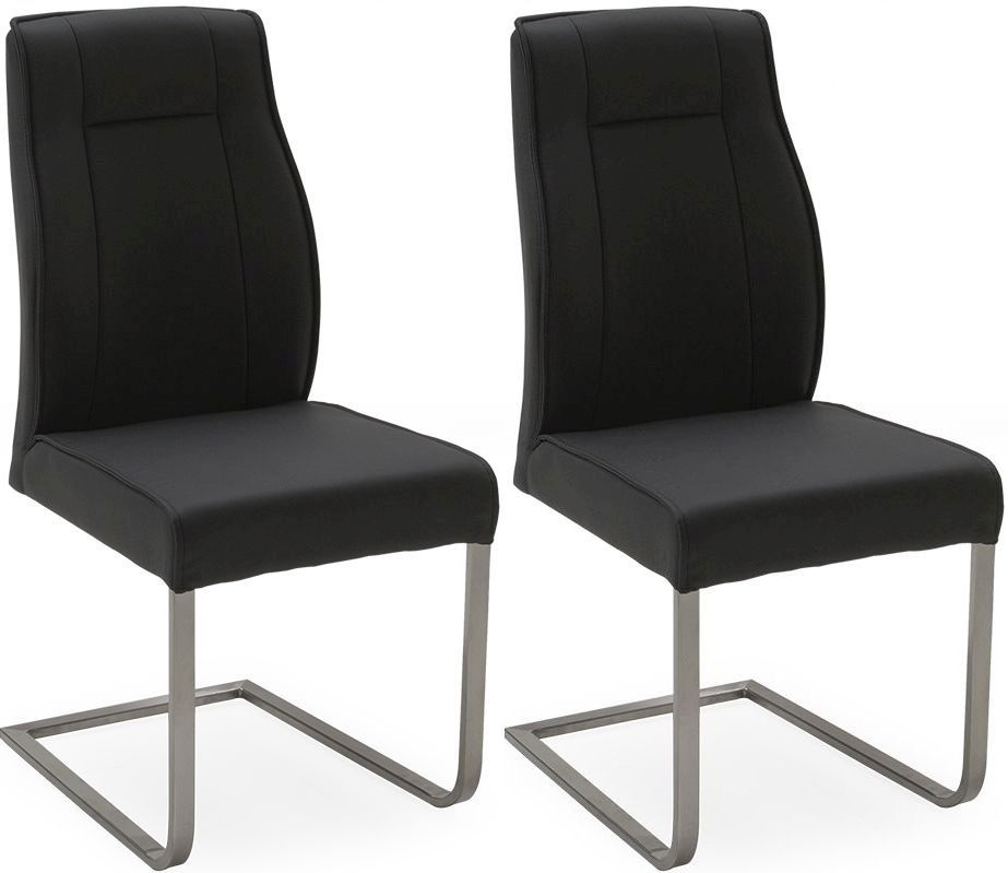 Vida Living Luciana Chair (Pair) - Charcoal Leather