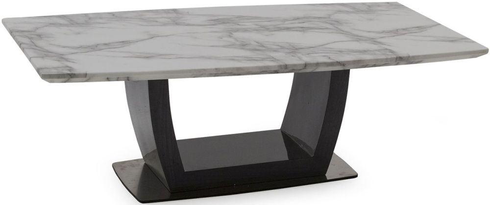 Vida Living Luciana Coffee Table - Grey Marble and High Gloss