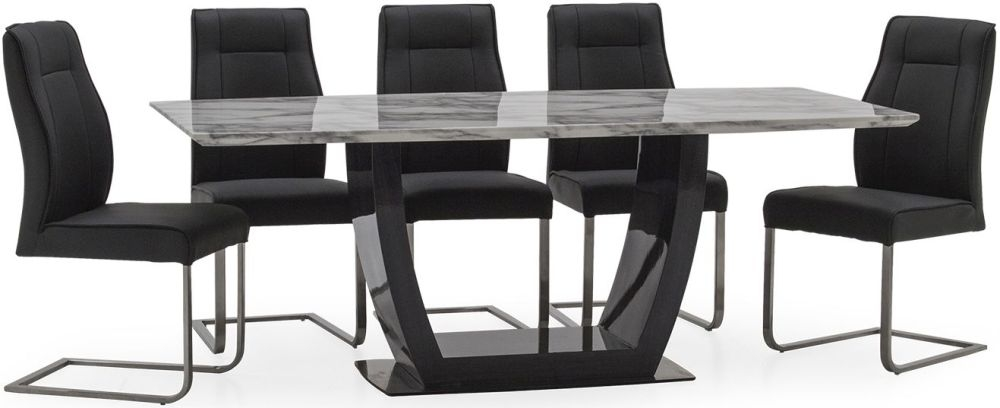 Vida Living Luciana High Gloss Dining Table and 6 Chairs - Grey Marble and Charcoal Leather