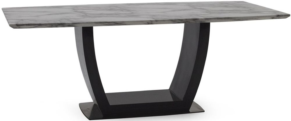Vida Living Luciana Dining Table - Grey Marble and High Gloss