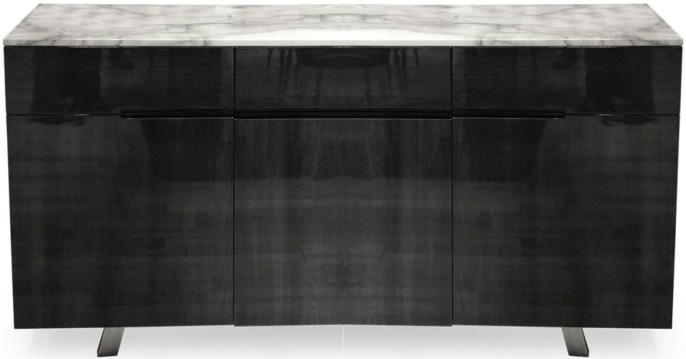 Vida Living Luciana Marble Sideboard - Grey Marbel and High Gloss