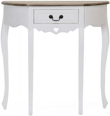 Vida Living Maeve Half Moon Console Table - White and Mindi Veneer
