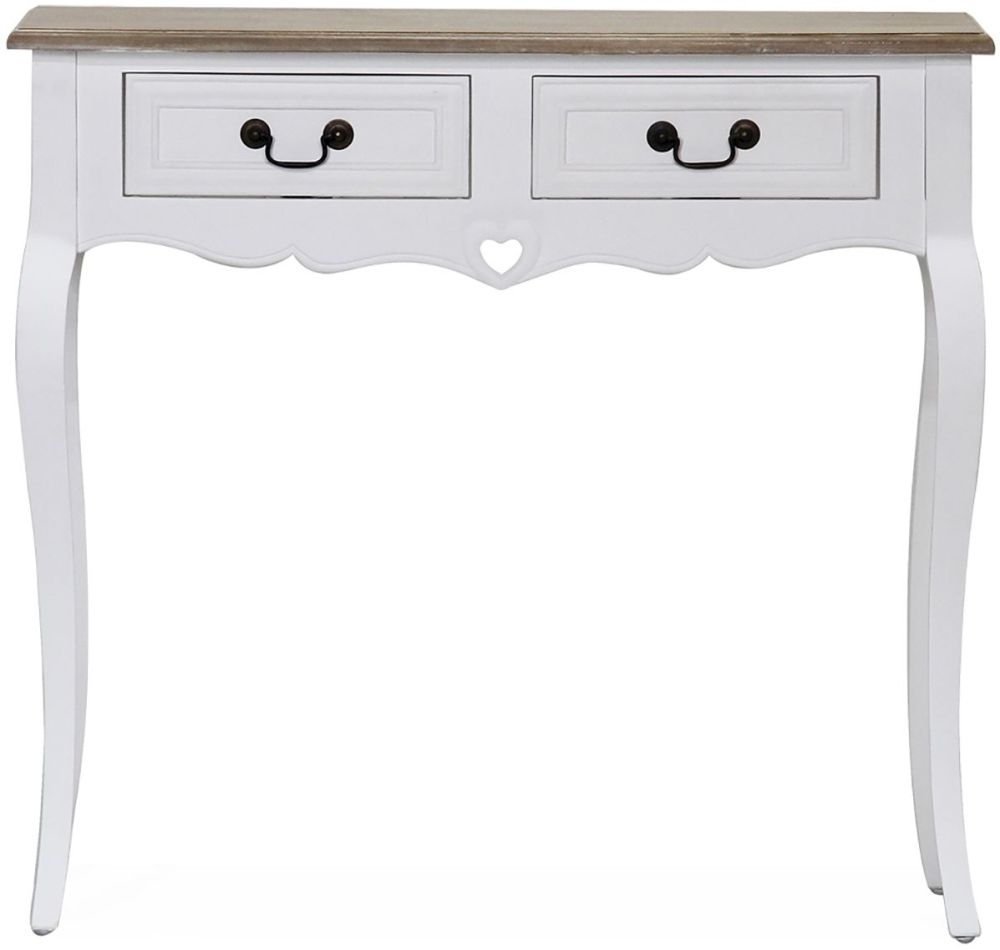 Product photograph showing Vida Living Maeve Console Table - White And Mindi Veneer