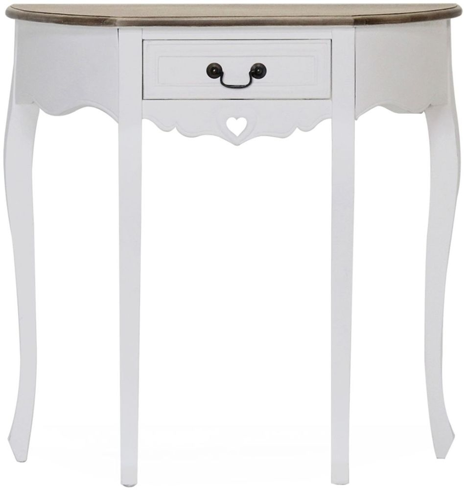 Vida Living Maeve Half Moon Console Table - White and Mindi Veneer