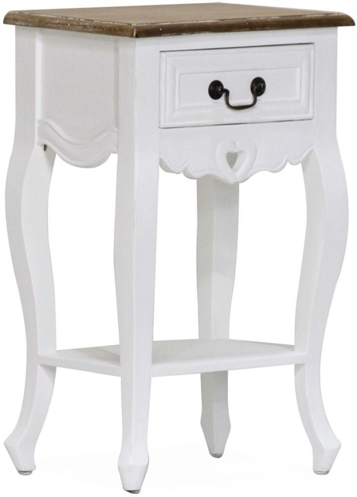 Vida Living Maeve Lamp Table - White and Mindi Veneer
