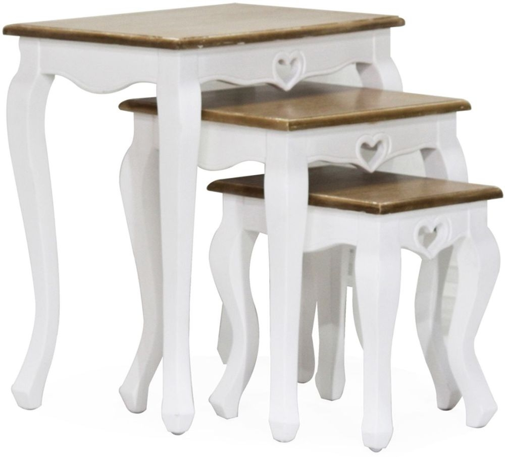 Product photograph showing Vida Living Maeve Nest Of 3 Tables - White And Mindi Veneer