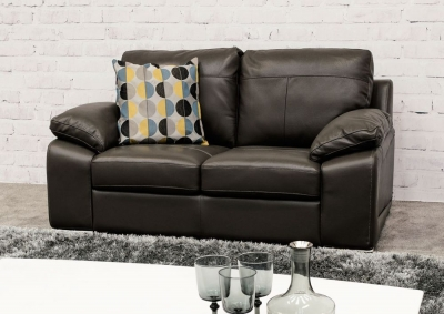 Vida Living Maranello 2 Seater Leather Sofa - Black