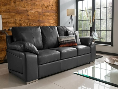 Vida Living Maranello 3 Seater Leather Sofa - Black