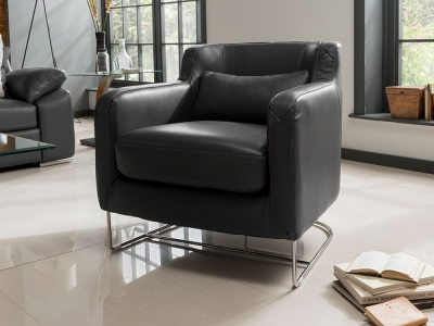 Vida Living Maranello Club Leather Chair - Black